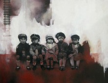 Boxcar Children. 5 ft x 2.5 ft. Acrylic, Oil & Transfer on Wood Panel. 2012.