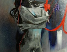 I Think I See Myself In Her. 5 ft x 2 ft. Acrylic, Mixed Media, Thread, Pastel and Ink on Canvas. 2010. SOLD