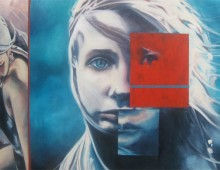 The Red Polaroid Square. 6 ft. x 4 ft. Acrylic on Canvas. 2011.