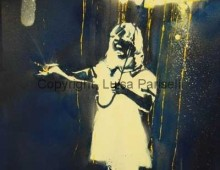 Banksy Appropriation. Spray Paint and Acrylic on Canvas. 2 ft. x 4 ft. 2012