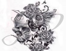 Ale. Ink & Pen on Paper. Tattoo Design. 2012