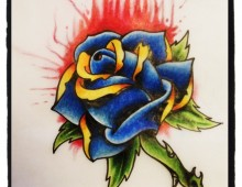 Old School Rose Duplicate. Pencil Crayon and Ink on Paper. 2012