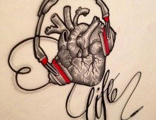 INFU's Heart. Ink, Pencil and Sharpie on paper. Tattoo Design. 2012.