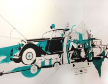 Facade Mural 2. Acrylic and Ink. 6 ft x 4 ft. approx. 2012